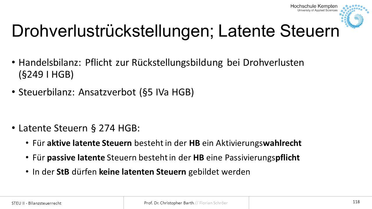 STEU II - Bilanzsteuerrecht Prof. Dr. Christopher Barth // Florian Schröer 118 Drohverlustrückstellungen; Latente Steuern Handelsbilanz: Pflicht zur R