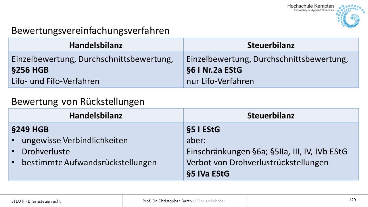 STEU II - Bilanzsteuerrecht Prof. Dr. Christopher Barth // Florian Schröer 129 Bewertungsvereinfachungsverfahren Bewertung von Rückstellungen Handelsb