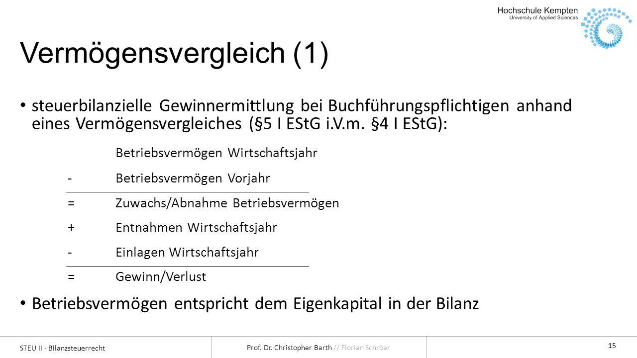 STEU II - Bilanzsteuerrecht Prof. Dr. Christopher Barth // Florian Schröer 15 Vermögensvergleich (1) steuerbilanzielle Gewinnermittlung bei Buchführun