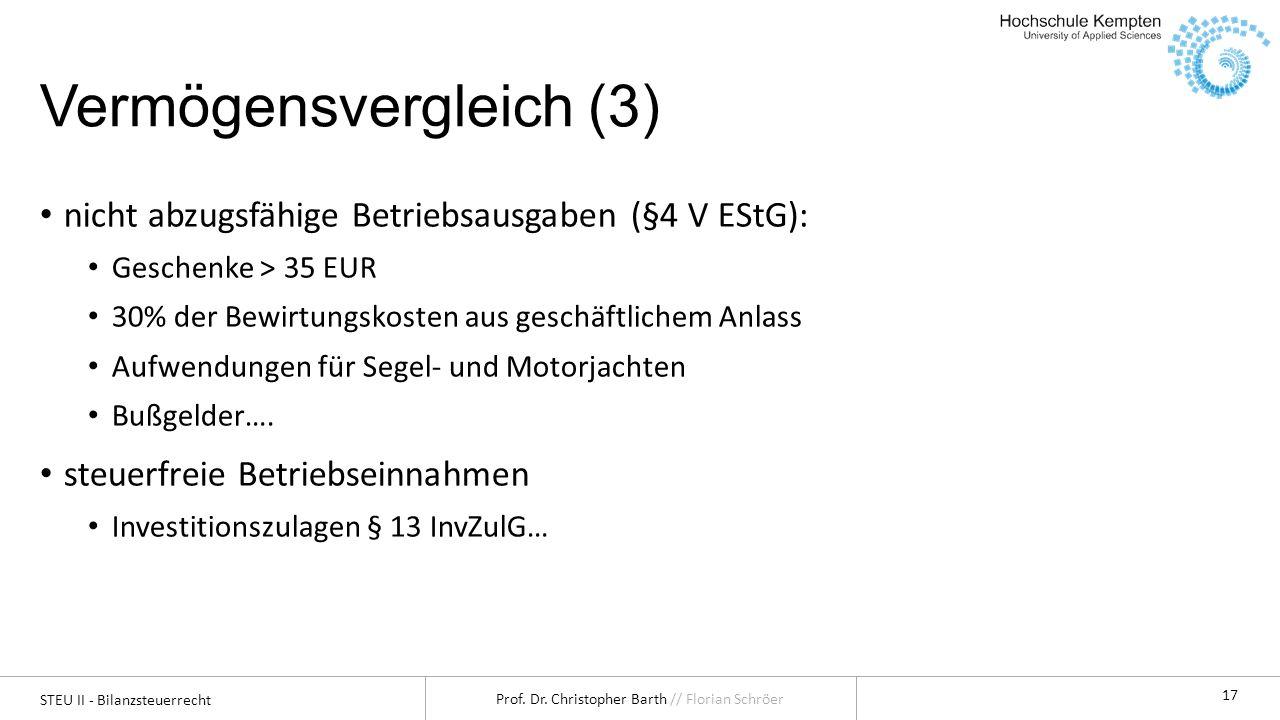 STEU II - Bilanzsteuerrecht Prof. Dr. Christopher Barth // Florian Schröer 17 Vermögensvergleich (3) nicht abzugsfähige Betriebsausgaben (§4 V EStG):