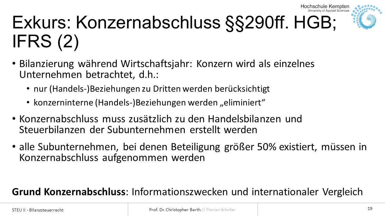 STEU II - Bilanzsteuerrecht Prof. Dr. Christopher Barth // Florian Schröer 19 Exkurs: Konzernabschluss §§290ff. HGB; IFRS (2) Bilanzierung während Wir