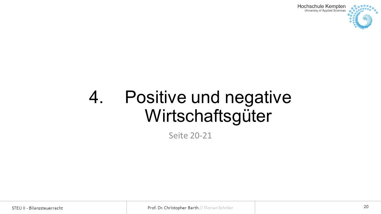 STEU II - Bilanzsteuerrecht Prof. Dr. Christopher Barth // Florian Schröer 20 4.Positive und negative Wirtschaftsgüter Seite 20-21