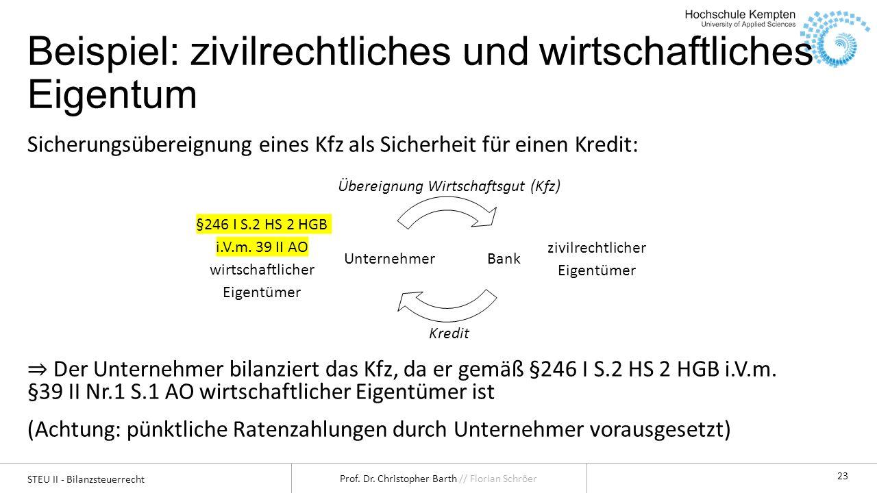 STEU II - Bilanzsteuerrecht Prof. Dr. Christopher Barth // Florian Schröer 23 Beispiel: zivilrechtliches und wirtschaftliches Eigentum Sicherungsübere