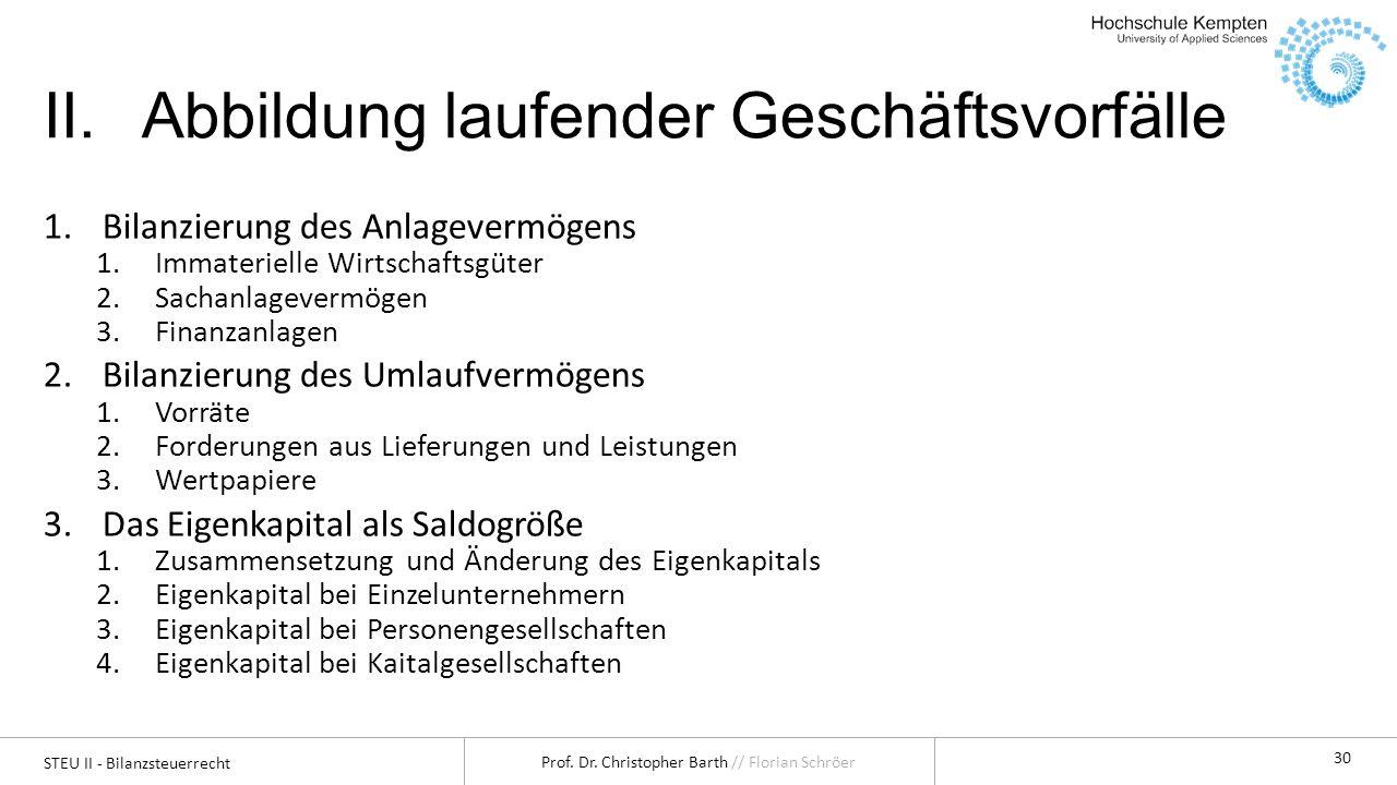 STEU II - Bilanzsteuerrecht Prof. Dr. Christopher Barth // Florian Schröer 30 II.Abbildung laufender Geschäftsvorfälle 1.Bilanzierung des Anlagevermög