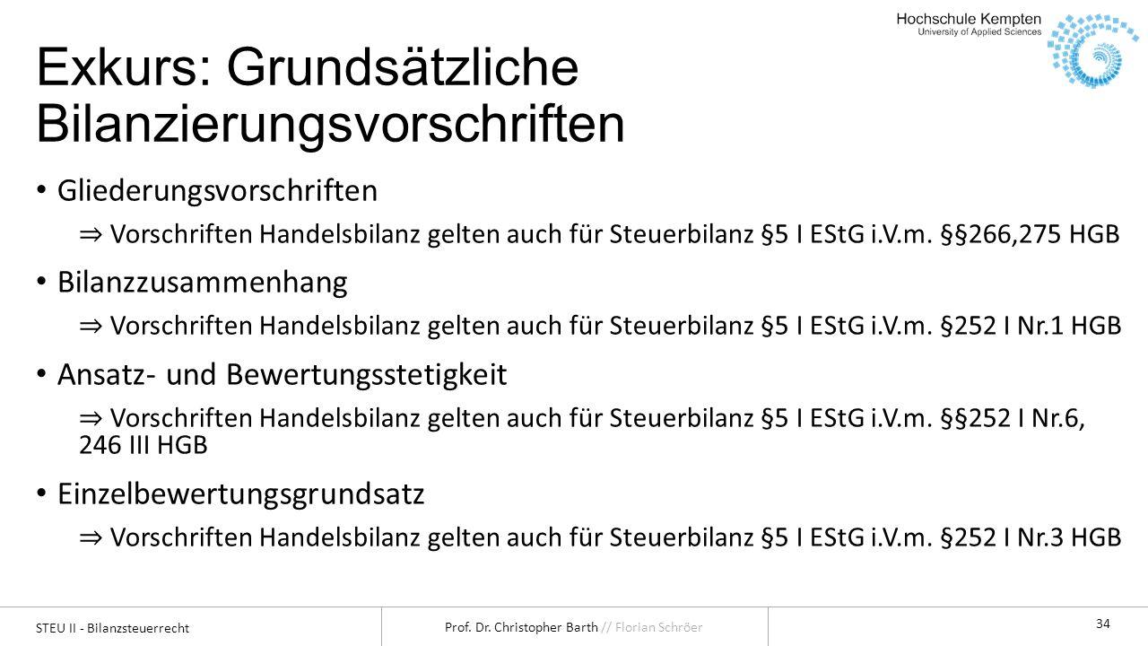 STEU II - Bilanzsteuerrecht Prof. Dr. Christopher Barth // Florian Schröer 34 Exkurs: Grundsätzliche Bilanzierungsvorschriften Gliederungsvorschriften