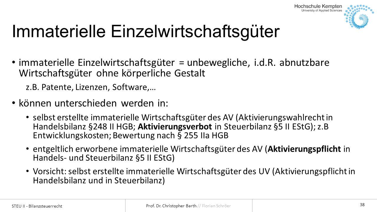 STEU II - Bilanzsteuerrecht Prof. Dr. Christopher Barth // Florian Schröer 38 Immaterielle Einzelwirtschaftsgüter immaterielle Einzelwirtschaftsgüter