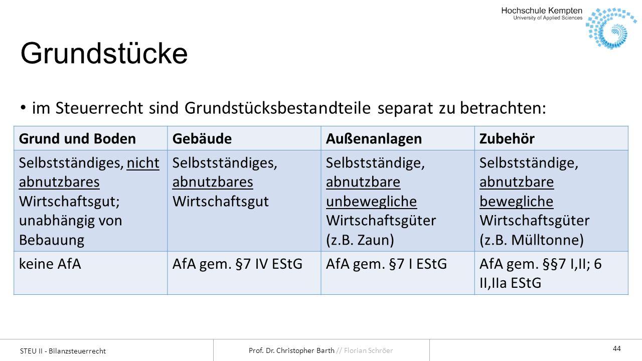 STEU II - Bilanzsteuerrecht Prof. Dr. Christopher Barth // Florian Schröer 44 Grundstücke im Steuerrecht sind Grundstücksbestandteile separat zu betra