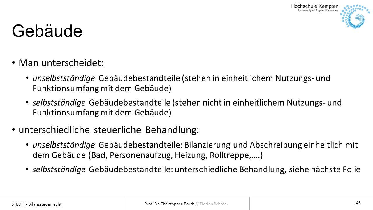 STEU II - Bilanzsteuerrecht Prof. Dr. Christopher Barth // Florian Schröer 46 Gebäude Man unterscheidet: unselbstständige Gebäudebestandteile (stehen