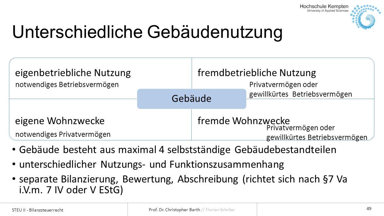 STEU II - Bilanzsteuerrecht Prof. Dr. Christopher Barth // Florian Schröer 49 Unterschiedliche Gebäudenutzung eigenbetriebliche Nutzungfremdbetrieblic