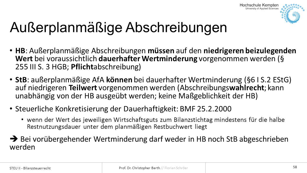 STEU II - Bilanzsteuerrecht Prof. Dr. Christopher Barth // Florian Schröer 58 Außerplanmäßige Abschreibungen HB: Außerplanmäßige Abschreibungen müssen