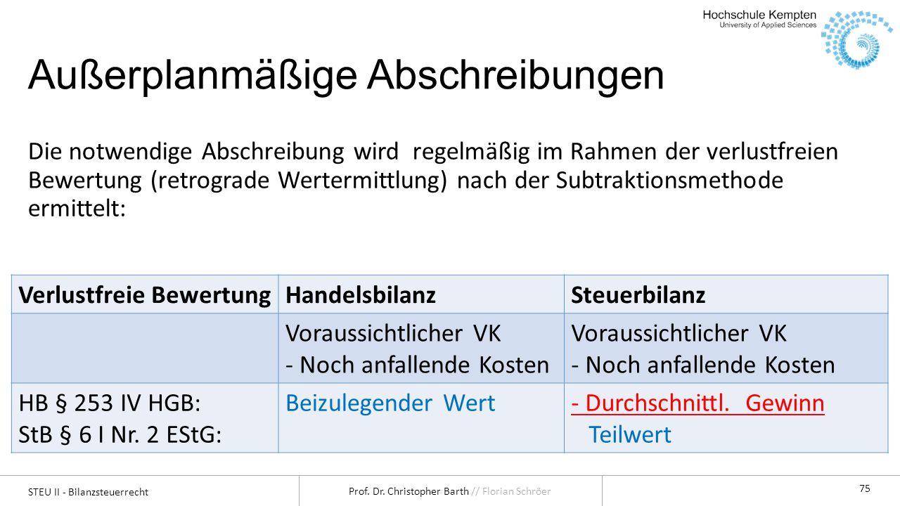 STEU II - Bilanzsteuerrecht Prof. Dr. Christopher Barth // Florian Schröer 75 Außerplanmäßige Abschreibungen Die notwendige Abschreibung wird regelmäß
