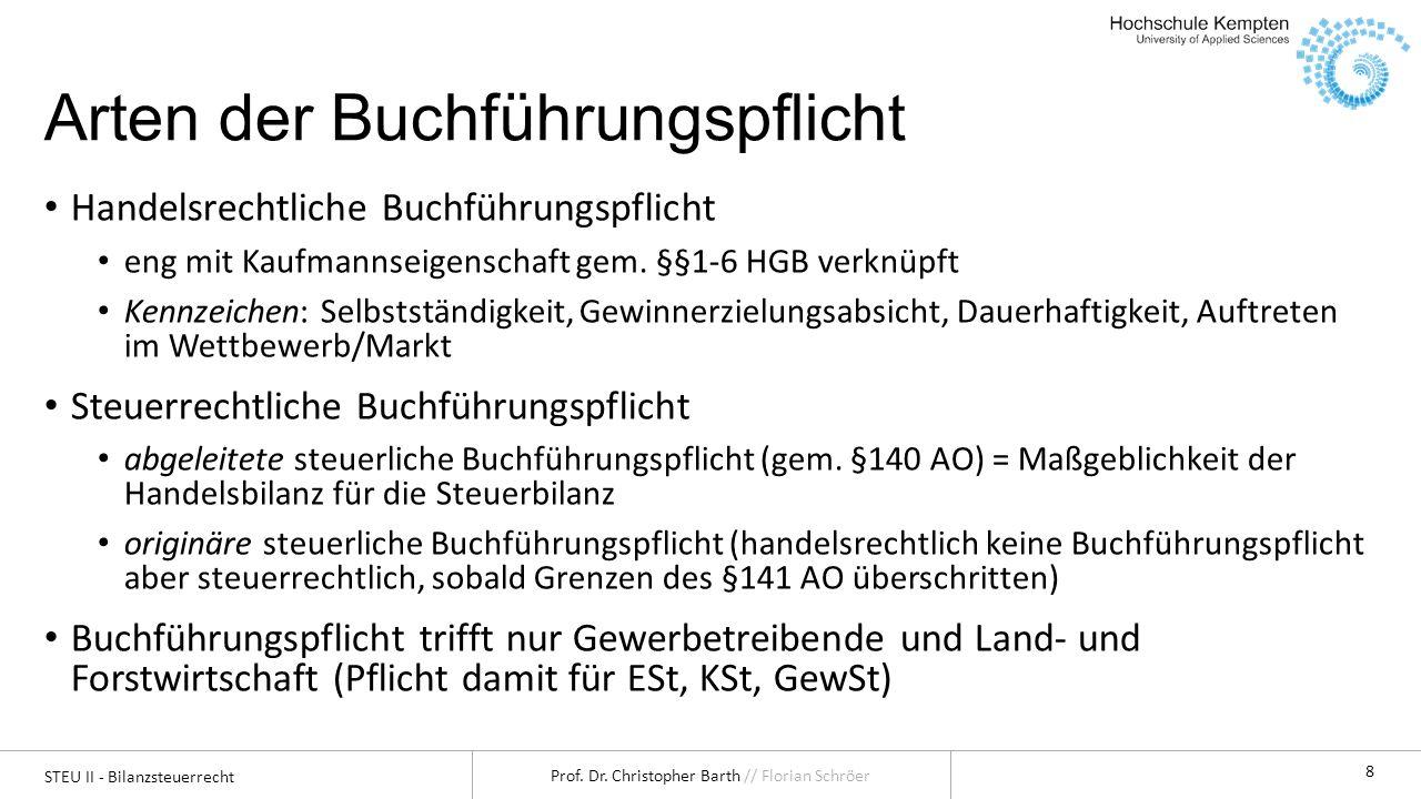 STEU II - Bilanzsteuerrecht Prof. Dr. Christopher Barth // Florian Schröer 8 Arten der Buchführungspflicht Handelsrechtliche Buchführungspflicht eng m