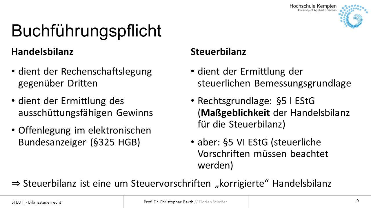 STEU II - Bilanzsteuerrecht Prof. Dr. Christopher Barth // Florian Schröer 9 Buchführungspflicht Handelsbilanz dient der Rechenschaftslegung gegenüber