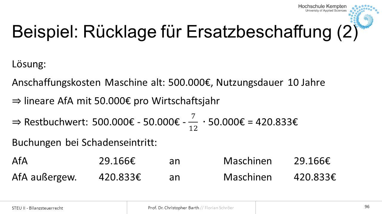 STEU II - Bilanzsteuerrecht Prof. Dr. Christopher Barth // Florian Schröer 96 Beispiel: Rücklage für Ersatzbeschaffung (2) AfA29.166anMaschinen29.166