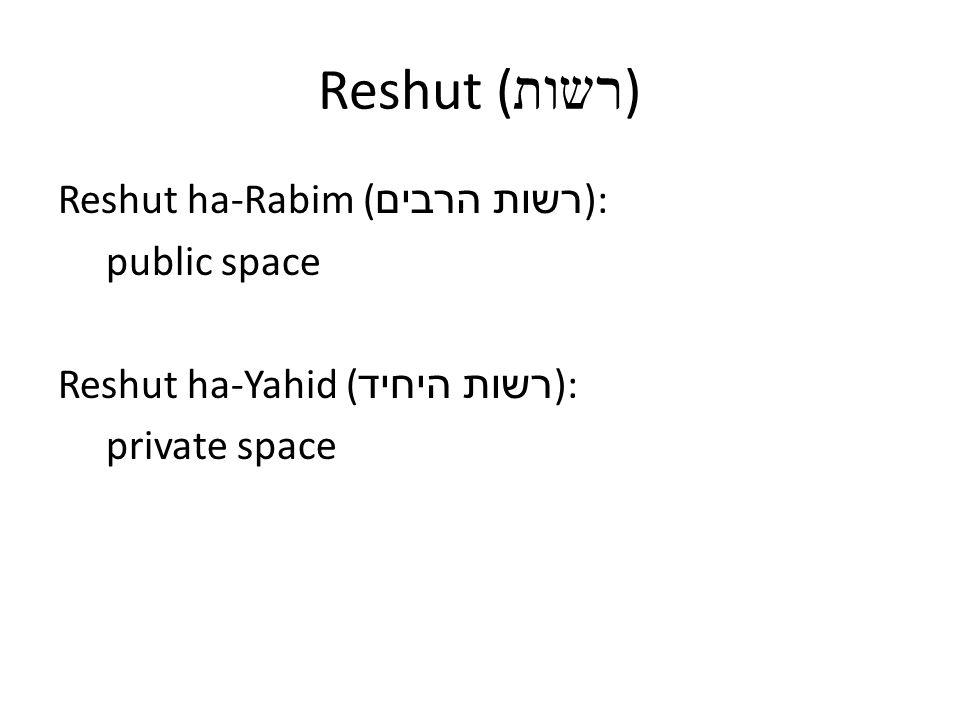 Reshut ( רשות ) Reshut ha-Rabim ( רשות הרבים ): public space Reshut ha-Yahid ( רשות היחיד ): private space