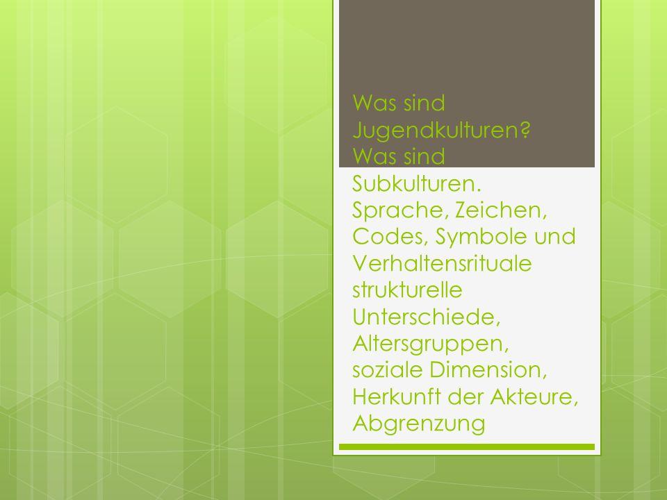 Was sind Jugendkulturen? Was sind Subkulturen. Sprache, Zeichen, Codes, Symbole und Verhaltensrituale strukturelle Unterschiede, Altersgruppen, sozial