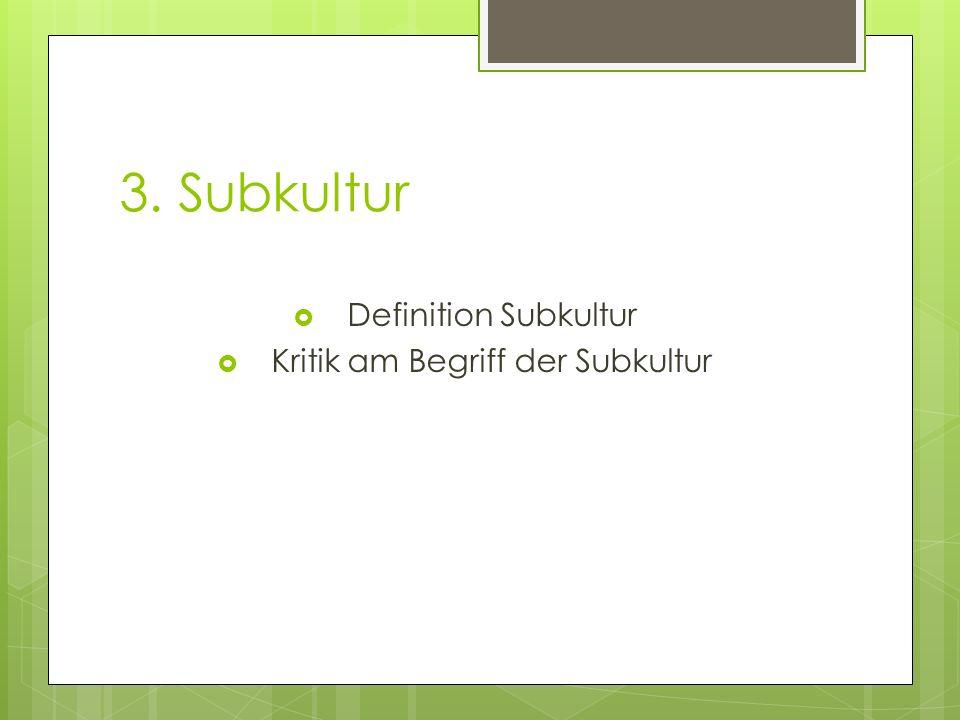 3. Subkultur Definition Subkultur Kritik am Begriff der Subkultur