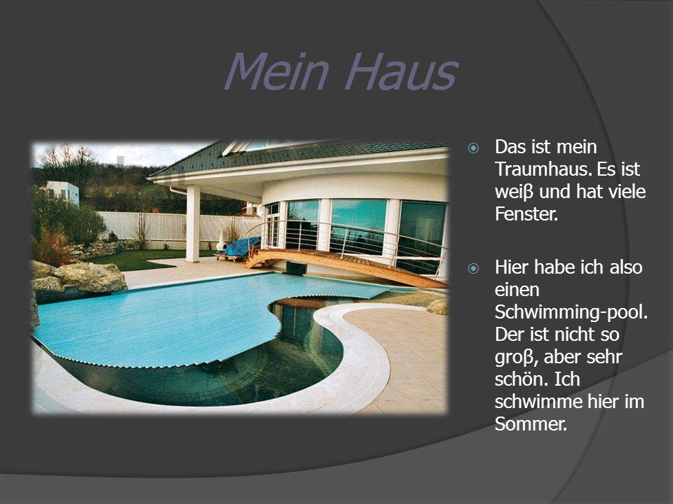 Das ist mein Traumhaus. Es ist weiβ und hat viele Fenster. Hier habe ich also einen Schwimming-pool. Der ist nicht so groβ, aber sehr schön. Ich schwi