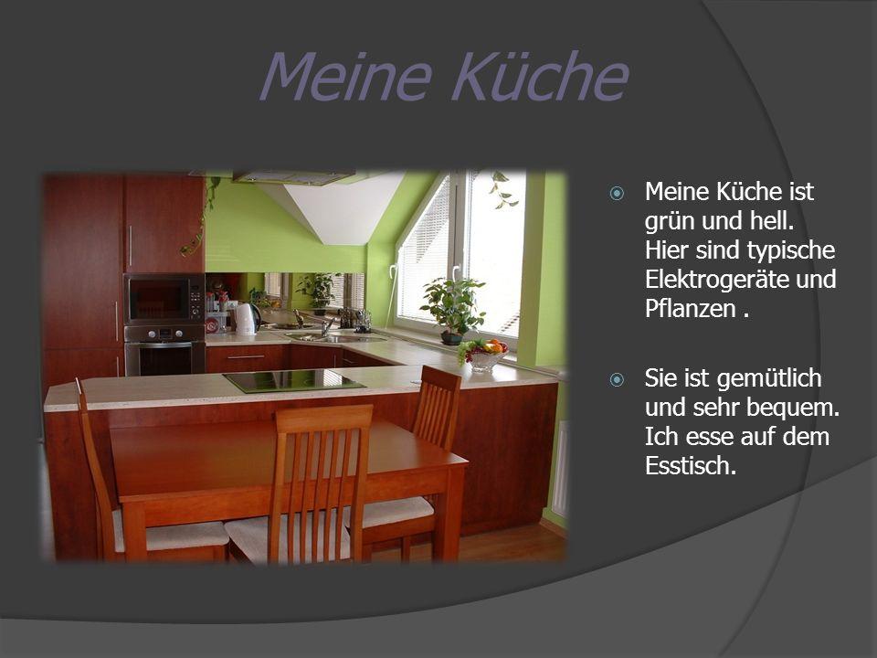 Meine Küche Meine Küche ist grün und hell. Hier sind typische Elektrogeräte und Pflanzen. Sie ist gemütlich und sehr bequem. Ich esse auf dem Esstisch