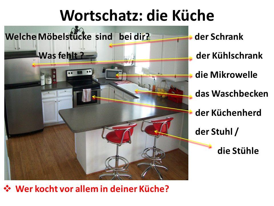 Wortschatz: die Küche Welche Möbelstücke sind bei dir? der Schrank Was fehlt ? der Kühlschrank die Mikrowelle das Waschbecken der Küchenherd der Stuhl