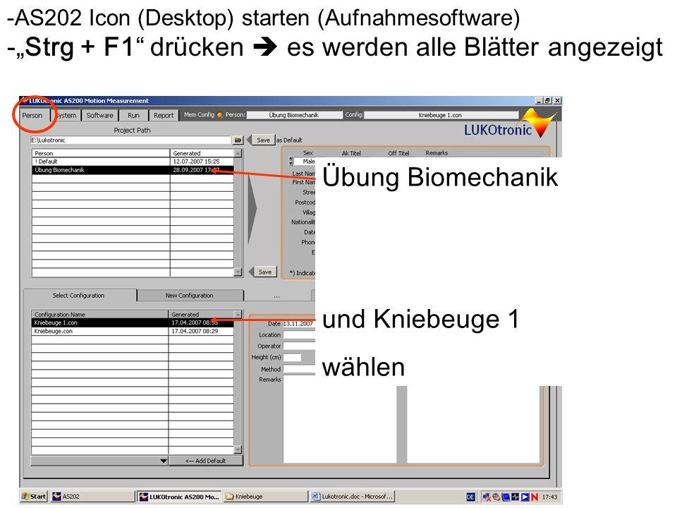 Bewegungs- und Krafterfassung in Echtzeit -AS202 Icon (Desktop) starten (Aufnahmesoftware) - Strg + F1 dr ü cken es werden alle Bl ä tter angezeigt Üb
