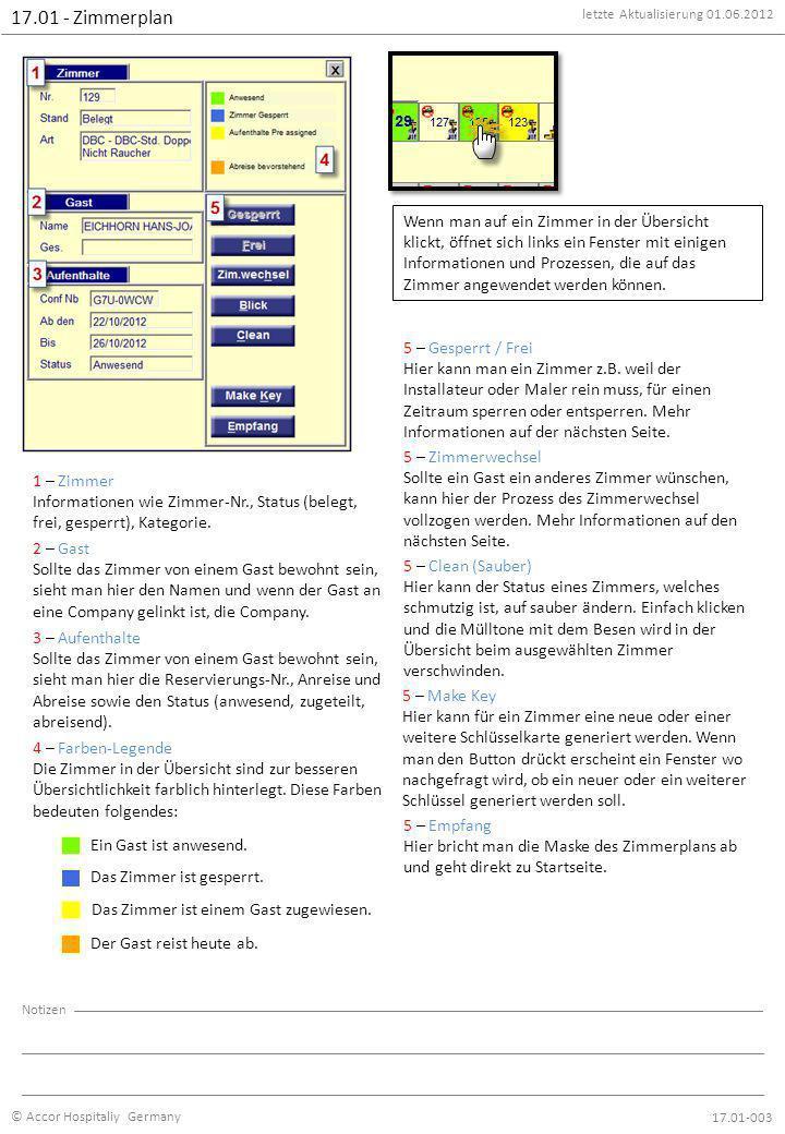letzte Aktualisierung 01.06.2012 © Accor Hospitaliy Germany Notizen 17.01 - Zimmerplan 17.01-003 Wenn man auf ein Zimmer in der Übersicht klickt, öffnet sich links ein Fenster mit einigen Informationen und Prozessen, die auf das Zimmer angewendet werden können.
