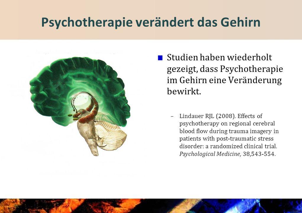 Psychotherapie verändert das Gehirn Studien haben wiederholt gezeigt, dass Psychotherapie im Gehirn eine Veränderung bewirkt.