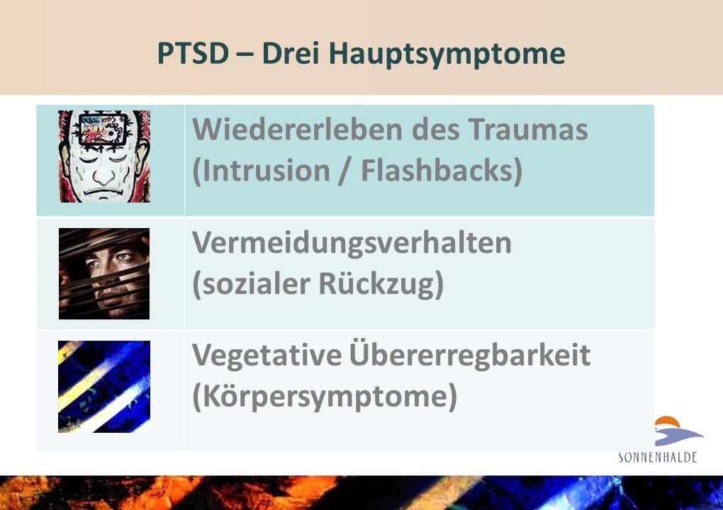 PTSD – Drei Hauptsymptome Wiedererleben des Traumas (Intrusion / Flashbacks) Vermeidungsverhalten (sozialer Rückzug) Vegetative Übererregbarkeit (Körpersymptome)