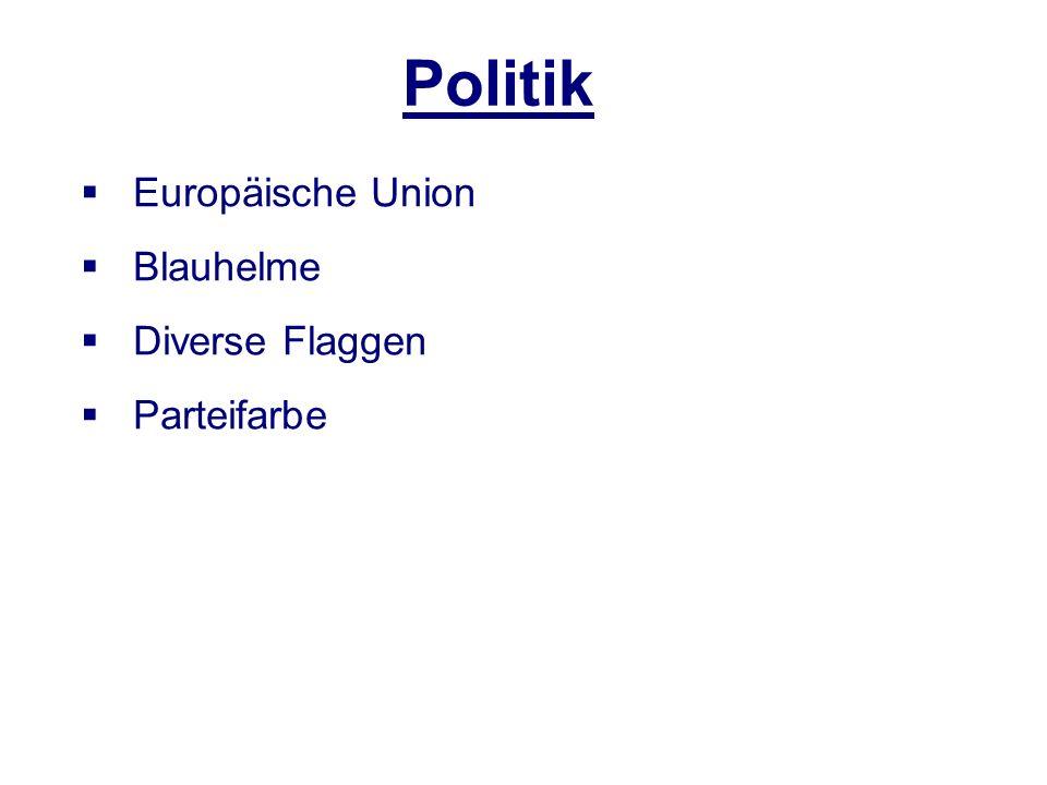 Politik Europäische Union Blauhelme Diverse Flaggen Parteifarbe
