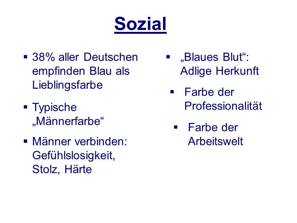 38% aller Deutschen empfinden Blau als Lieblingsfarbe Sozial Männer verbinden: Gefühlslosigkeit, Stolz, Härte Typische Männerfarbe Blaues Blut: Adlige