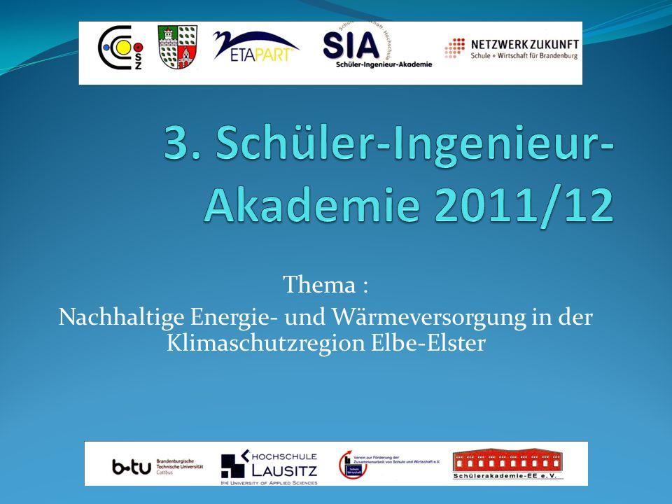 Thema : Nachhaltige Energie- und Wärmeversorgung in der Klimaschutzregion Elbe-Elster