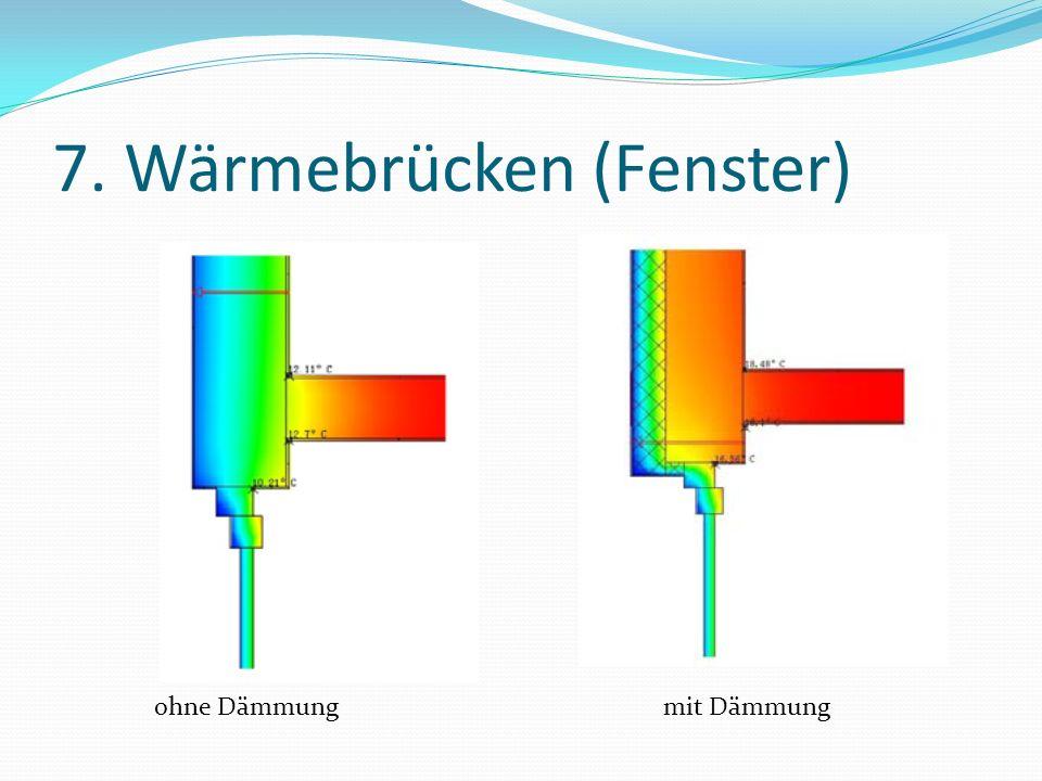 7. Wärmebrücken (Fenster) ohne Dämmungmit Dämmung