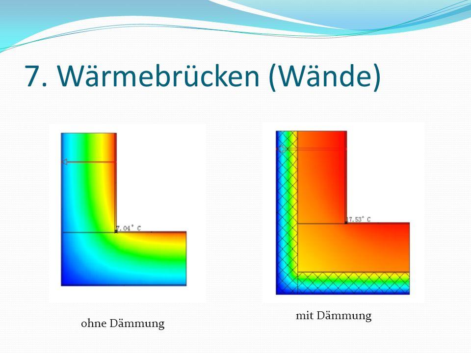 7. Wärmebrücken (Wände) ohne Dämmung mit Dämmung
