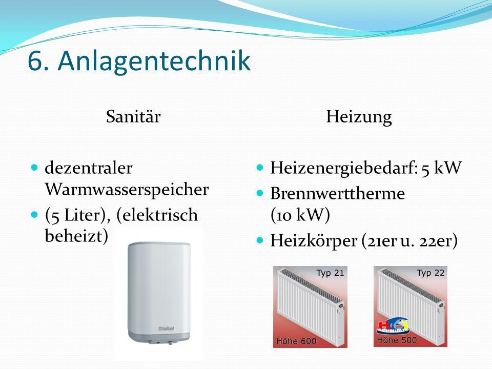 6. Anlagentechnik Sanitär dezentraler Warmwasserspeicher (5 Liter), (elektrisch beheizt) Heizung Heizenergiebedarf: 5 kW Brennwerttherme (10 kW) Heizk