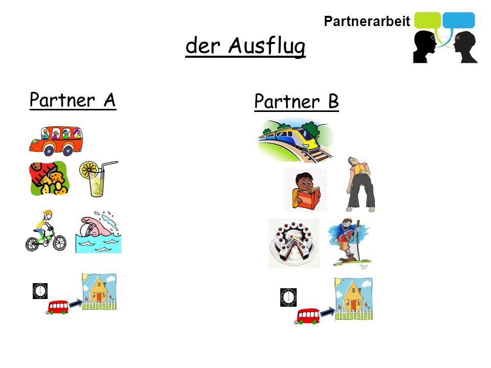 Partnerarbeit der Ausflug Partner A Partner B