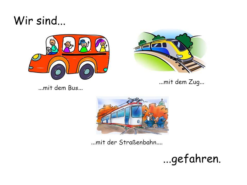 ...mit dem Bus......mit dem Zug......mit der Stra ß enbahn.... Wir sind......gefahren.
