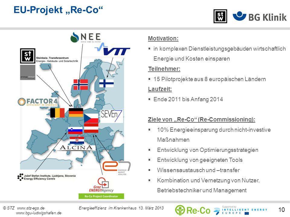 © STZ www.stz-egs.de Energieeffizienz im Krankenhaus 13. März 2013 www.bgu-ludwigshafen.de 10 EU-Projekt Re-Co Motivation: in komplexen Dienstleistung