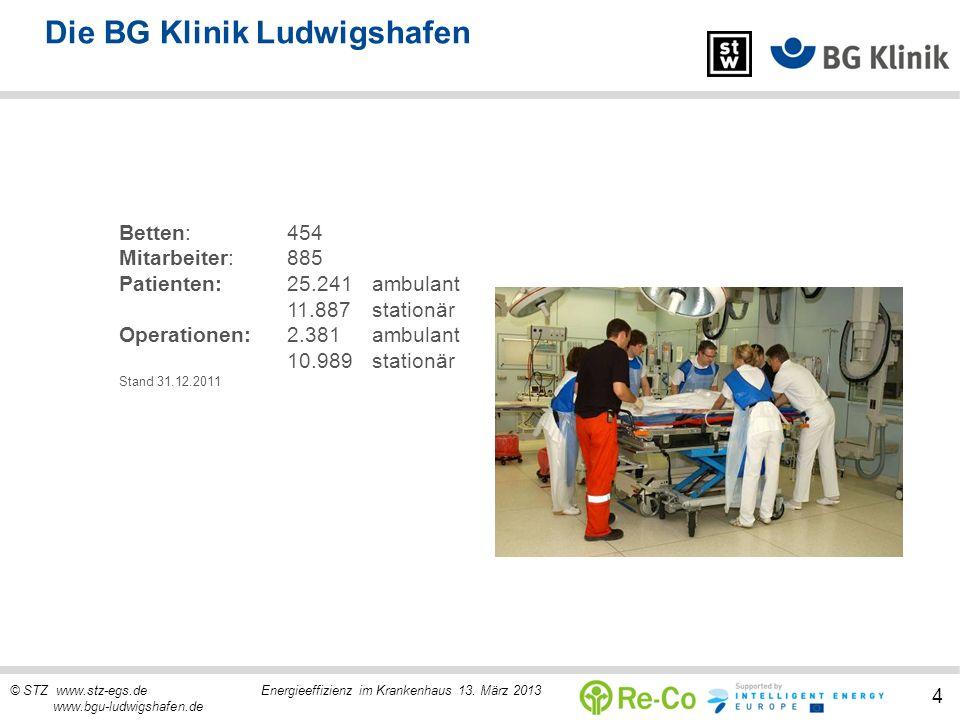 © STZ www.stz-egs.de Energieeffizienz im Krankenhaus 13. März 2013 www.bgu-ludwigshafen.de 4 Die BG Klinik Ludwigshafen Betten:454 Mitarbeiter:885 Pat