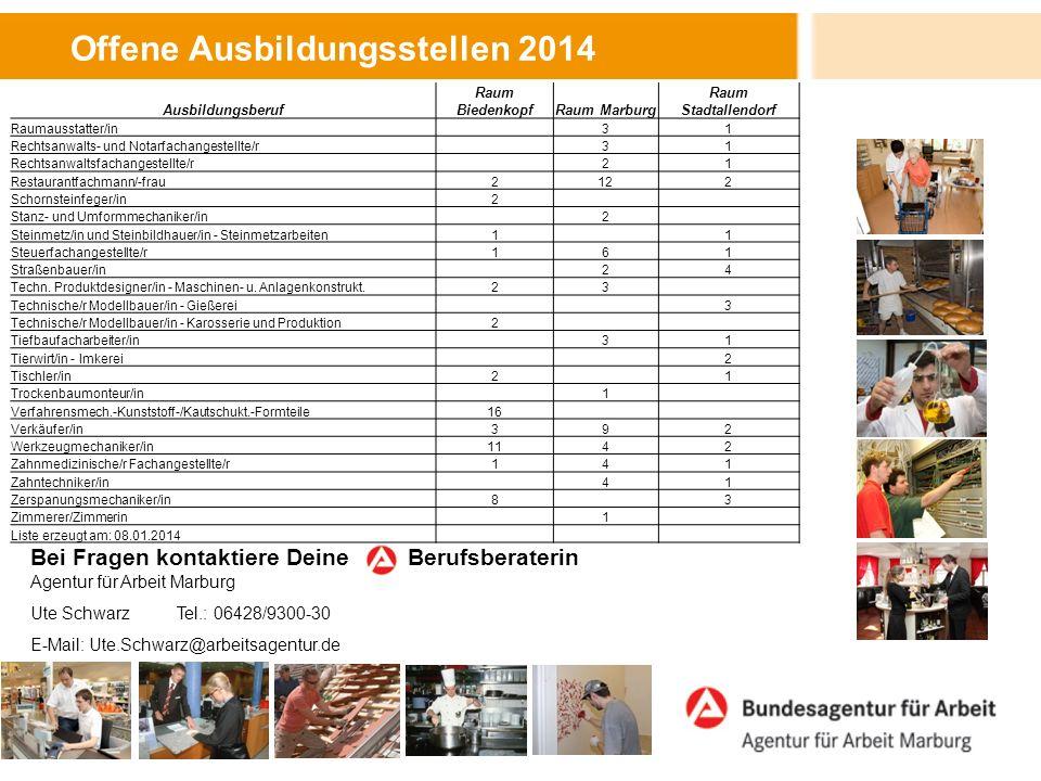 Offene Ausbildungsstellen 2014 Bei Fragen kontaktiere Deine Berufsberaterin Agentur für Arbeit Marburg Ute Schwarz Tel.: 06428/9300-30 E-Mail: Ute.Sch