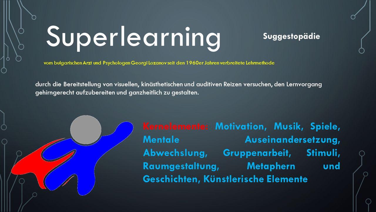 Suggestopädie Superlearning vom bulgarischen Arzt und Psychologen Georgi Lozanov seit den 1960er Jahren verbreitete Lehrmethode durch die Bereitstellu