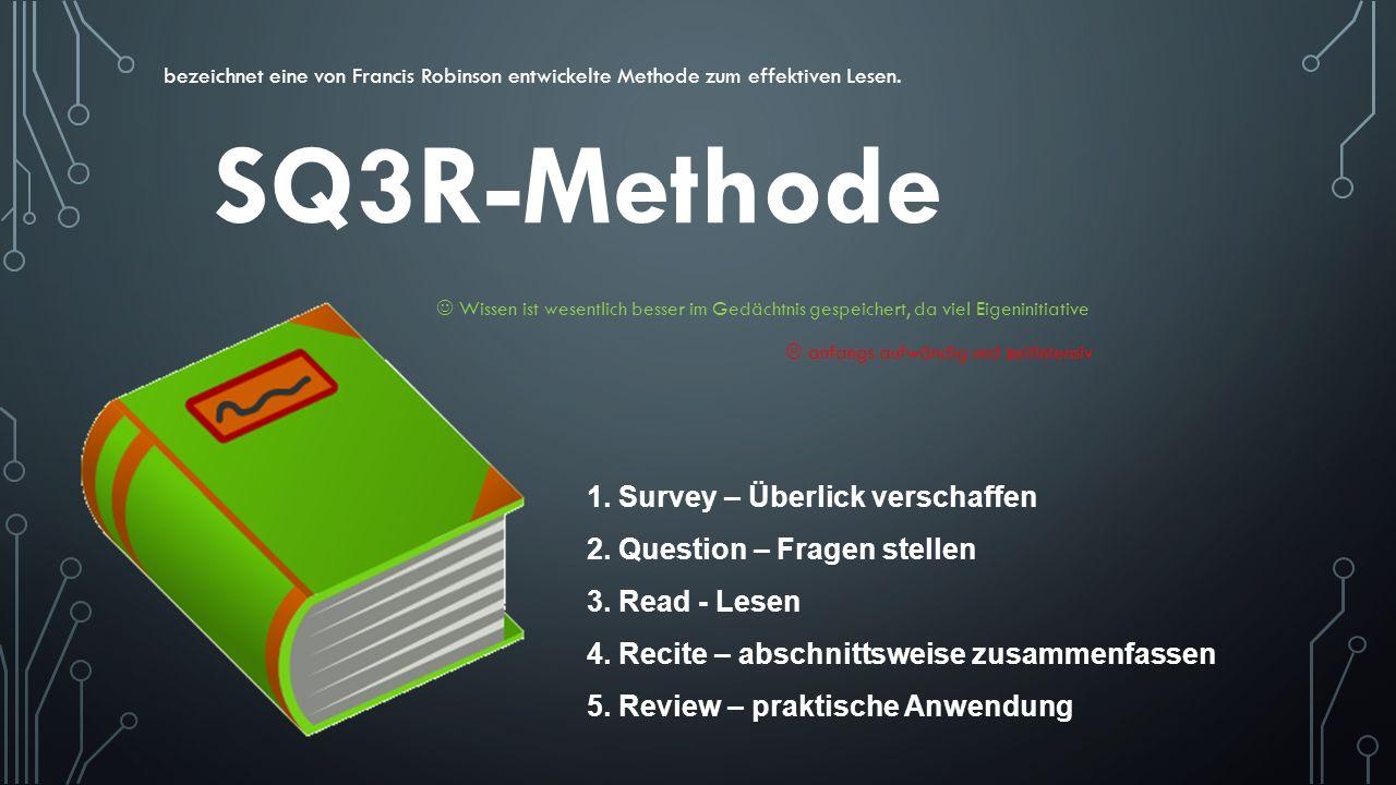 SQ3R-Methode bezeichnet eine von Francis Robinson entwickelte Methode zum effektiven Lesen. 1. Survey – Überlick verschaffen 2. Question – Fragen stel