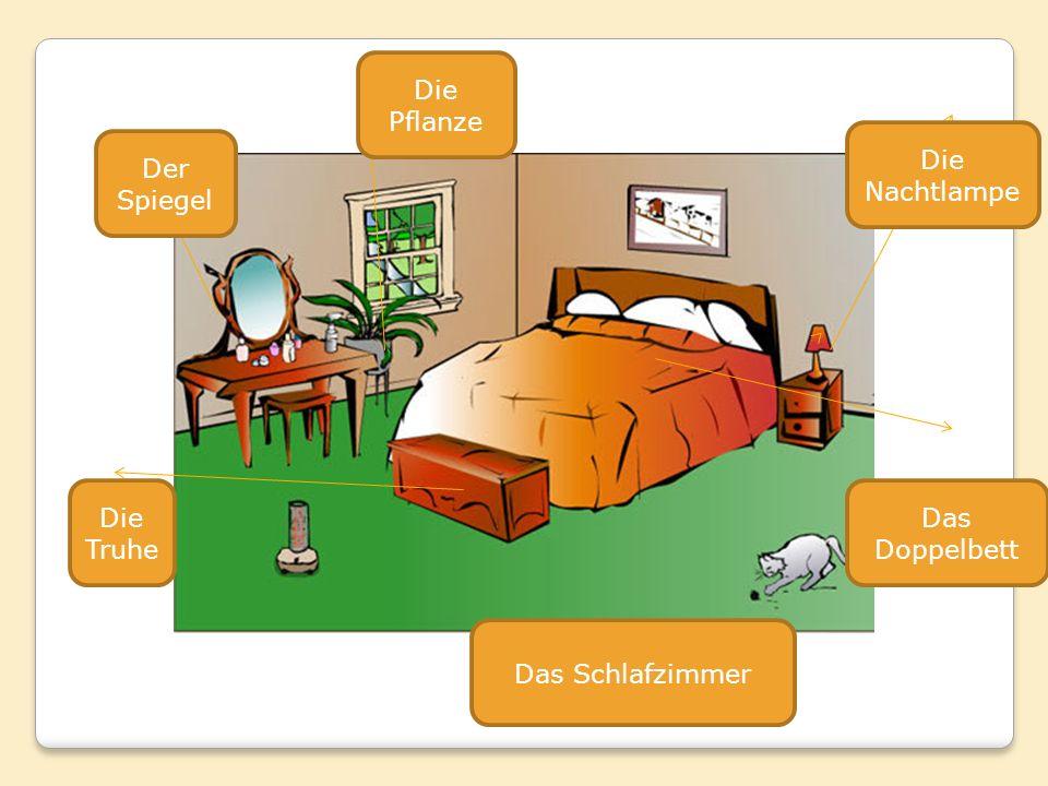 Der Spiegel Die Truhe Die Pflanze Die Nachtlampe Das Doppelbett Das Schlafzimmer