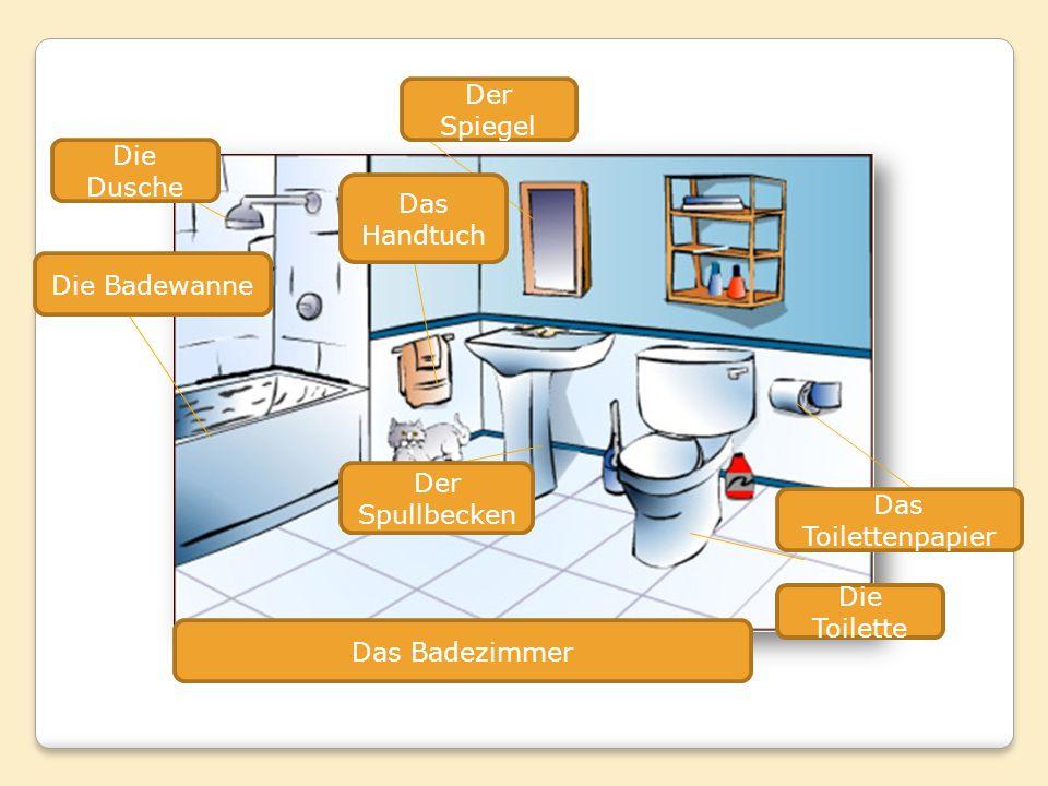 Die Dusche Die Badewanne Der Spullbecken Der Spiegel Die Toilette Das Toilettenpapier Das Handtuch Das Badezimmer