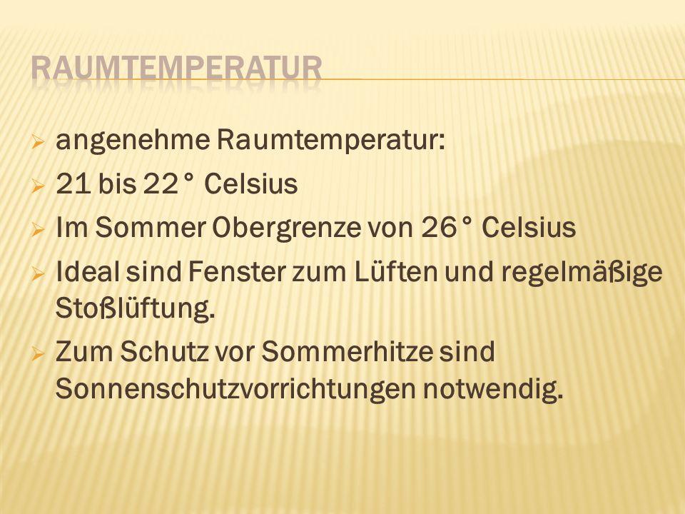 angenehme Raumtemperatur: 21 bis 22° Celsius Im Sommer Obergrenze von 26° Celsius Ideal sind Fenster zum Lüften und regelmäßige Stoßlüftung.