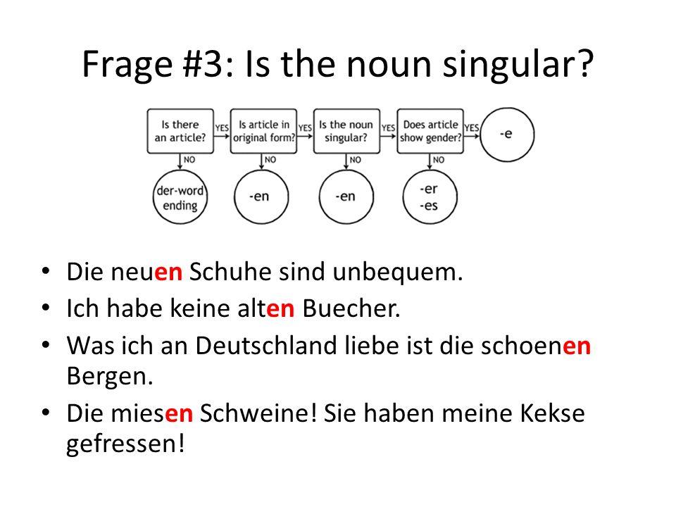 Frage #3: Is the noun singular.Die neuen Schuhe sind unbequem.