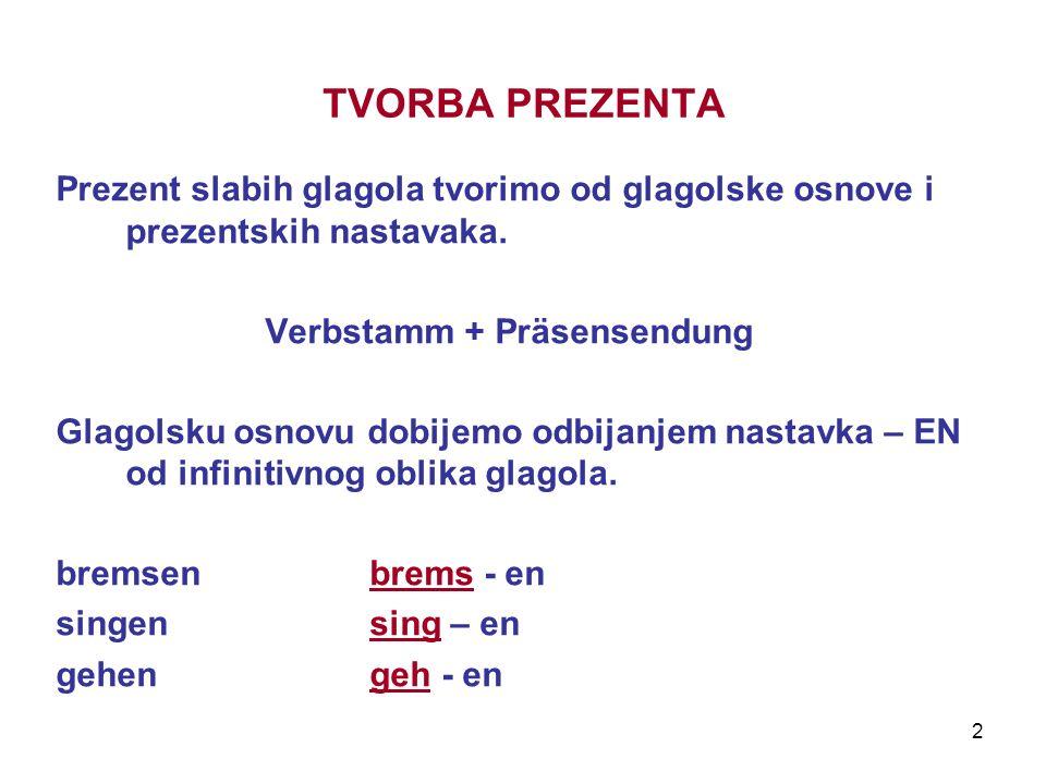 2 TVORBA PREZENTA Prezent slabih glagola tvorimo od glagolske osnove i prezentskih nastavaka. Verbstamm + Präsensendung Glagolsku osnovu dobijemo odbi