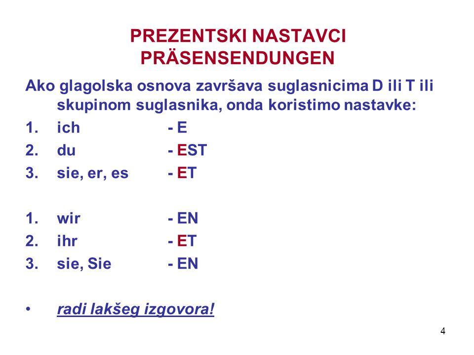 4 PREZENTSKI NASTAVCI PRÄSENSENDUNGEN Ako glagolska osnova završava suglasnicima D ili T ili skupinom suglasnika, onda koristimo nastavke: 1.ich - E 2