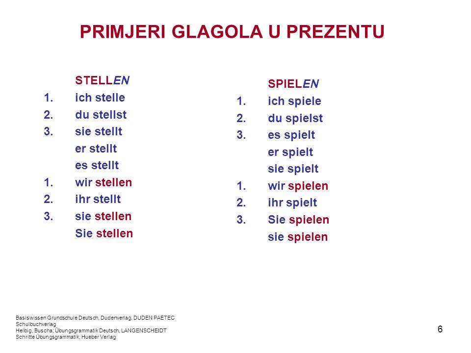 6 PRIMJERI GLAGOLA U PREZENTU STELLEN 1.ich stelle 2.du stellst 3.sie stellt er stellt es stellt 1.wir stellen 2.ihr stellt 3.sie stellen Sie stellen