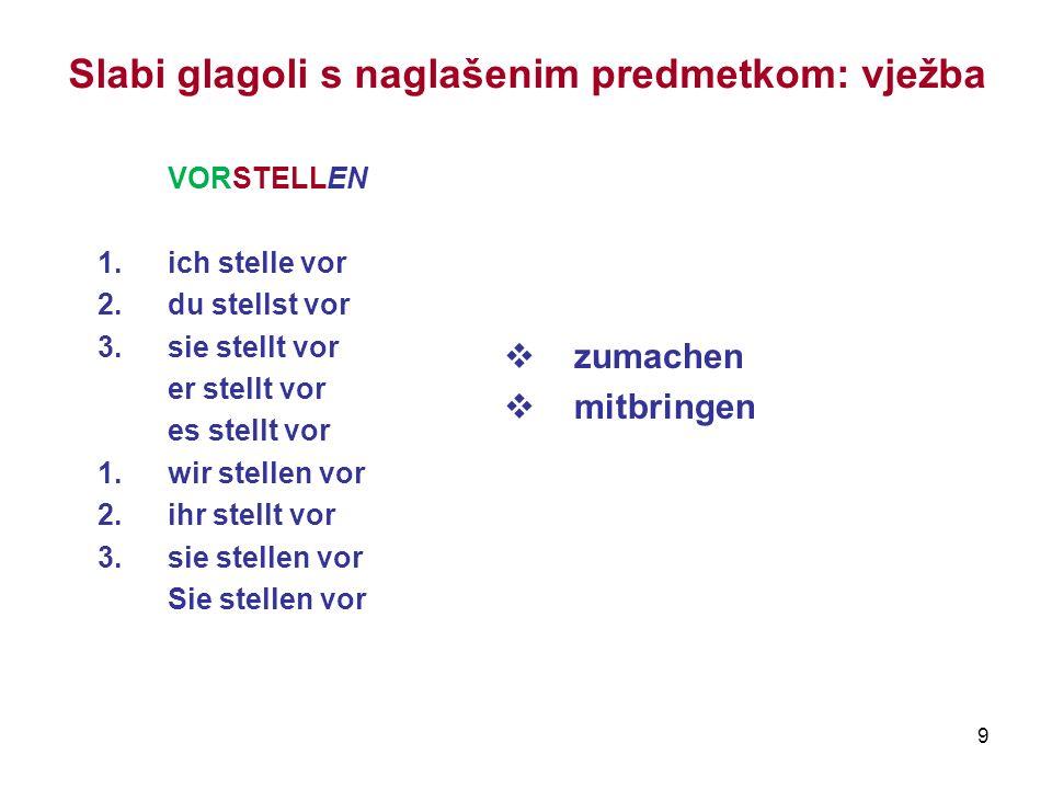 9 Slabi glagoli s naglašenim predmetkom: vježba VORSTELLEN 1.ich stelle vor 2.du stellst vor 3.sie stellt vor er stellt vor es stellt vor 1.wir stelle