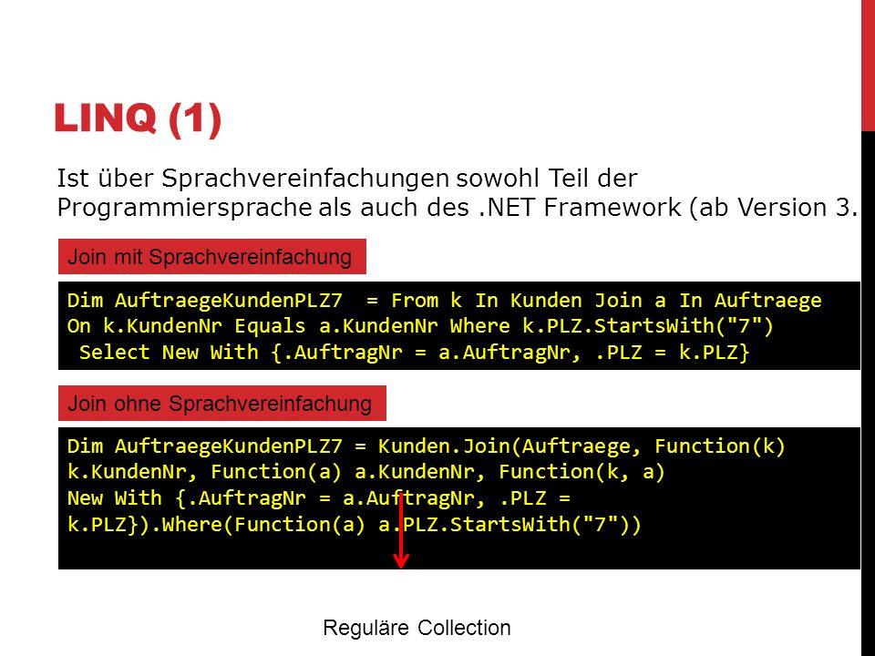 LINQ (1) Ist über Sprachvereinfachungen sowohl Teil der Programmiersprache als auch des.NET Framework (ab Version 3.5) Join mit Sprachvereinfachung Di
